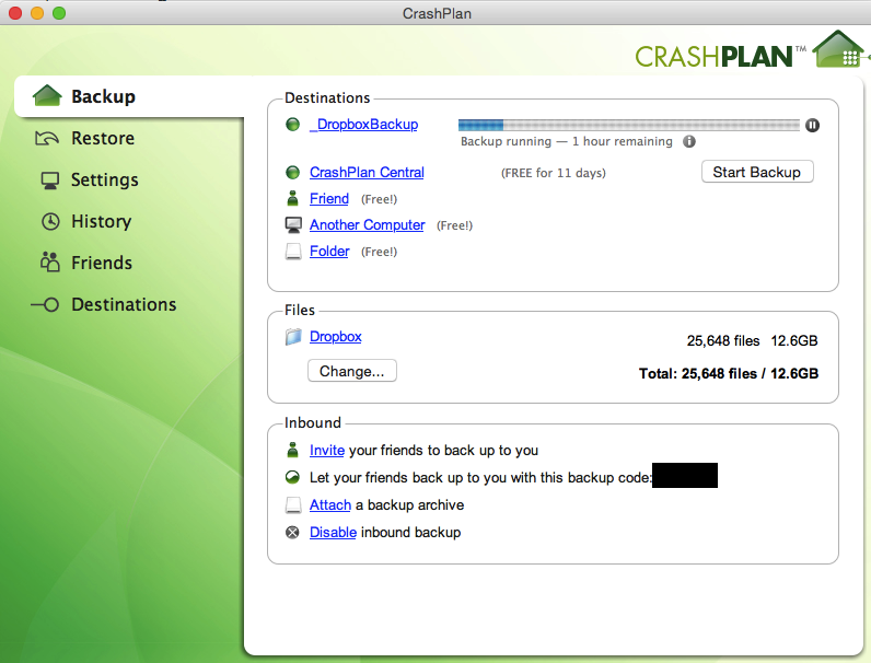 CrashPlan Dropbox Backup